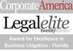 Law Office of David Steinfeld received the Legal Elite Award for Excellence in Business Litigation in Florida by Corporate America Magazine for 2015, 2016, and 2017