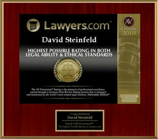 In 2019, Lawyers.com bestowed its highest award for legal abilities and ethical standards on David Steinfeld