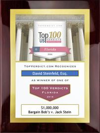 David Steinfeld was recognized with the prestigious Top 100 Florida Verdicts for a $1,000,000 jury verdict he obtained for Bargain Bob's Carpets