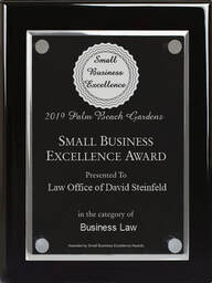 Law Office of David Steinfeld received the Best Business of Palm Beach Gardens Award in Business Law